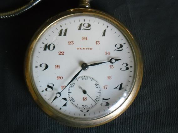 Relógio Bolso Zenith Plaquetado 110gr. De Cofre Perf Coleção