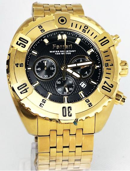 Relogio Com Cronografo Dourado Grafite Fer7301 Nf