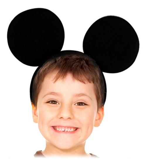 12 Diadema Orejas Mickey Mouse Tela Negra Fiesta Cumpleaños