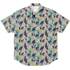 Camisa Botão Masculino Casual Folhas Vibe Verão Passaros