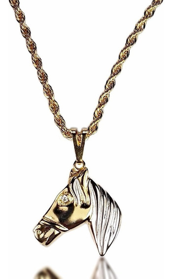 Corrente Cordão Baiano Pingente De Cavalo Banhado Ouro 18k
