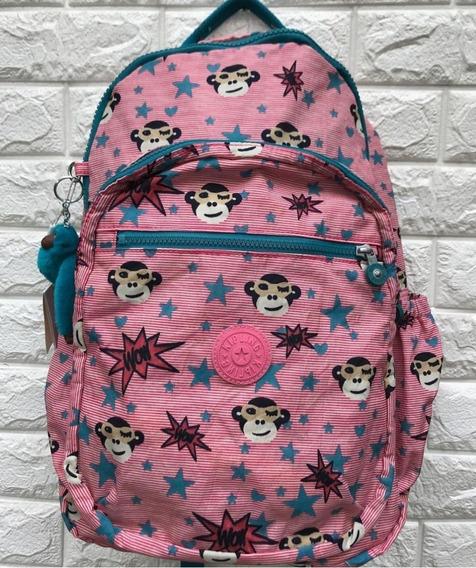 Mochila Escolar Kipling Seoul Go L Pink Hearty Original