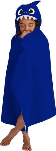 Imagem 1 de 2 de Toalha Com Capuz Azul Baby Shark 100% Algodão.