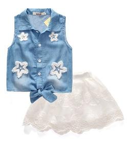 Conjunto Infantil Menina Flor - Saia + Blusa - Reveillon