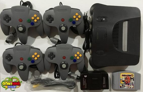 N64 Nintendo 64 Completo C/ 4 Controles + Mario Party 3