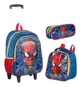 Kit Mochilete Spiderman Homem Aranha + Estojo + Lancheira