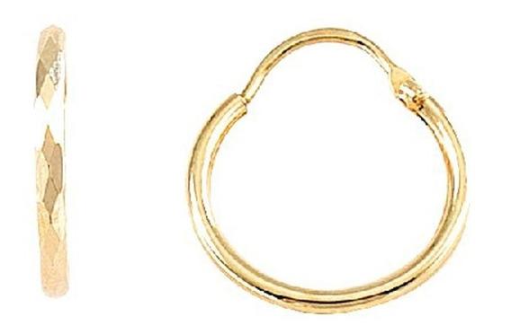 Arracadas De Tubo Diamantada Oro De 10k Mod. 575
