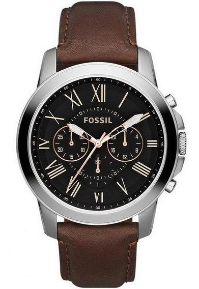 Reloj Grant Cronógrado En Acero Inox Y Cuero Marrón