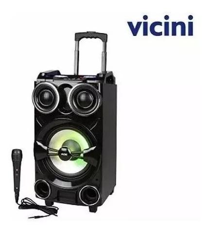Caixa Acústica Bluetooth Com Rodinhas Karaokê -vicini Bivolt