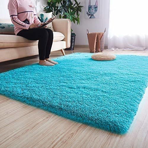 Imagen 1 de 7 de Alfombra Suave Sala O Dormitorio 4x5.3 Feet Azul