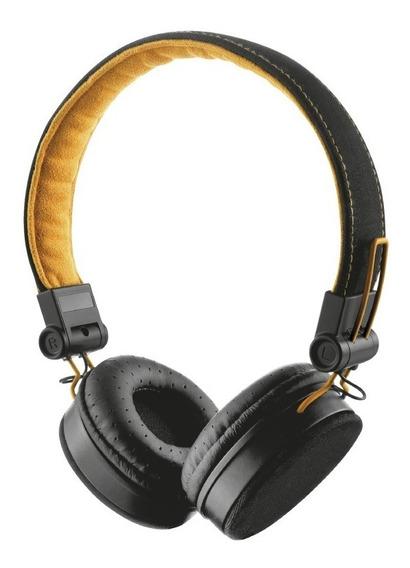 Fone De Ouvido Headphone Trust Fyber Cor Preto Com Laranja