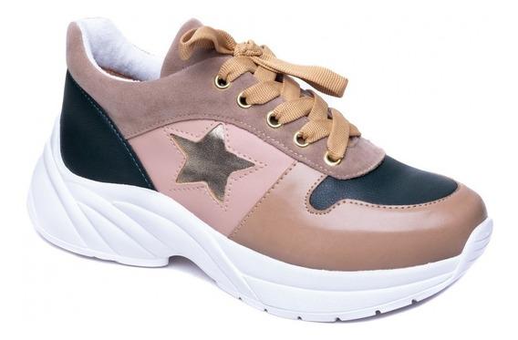Tênis Chunky Sneaker Em Napa Verde, Rosa E Camurça Rosê