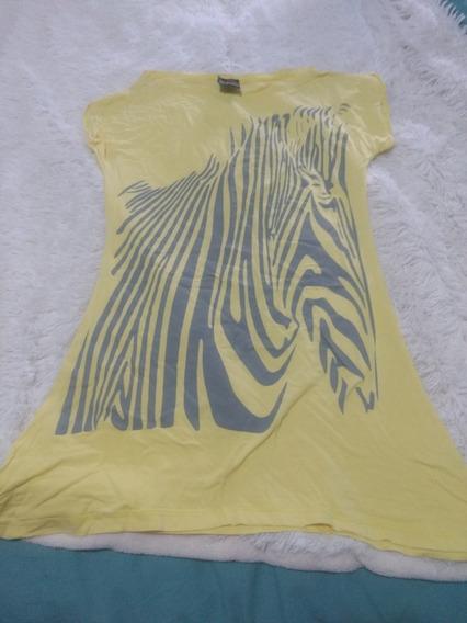 Remera Mujer Dama Amarilla Con Estampa Tm Manga Corta