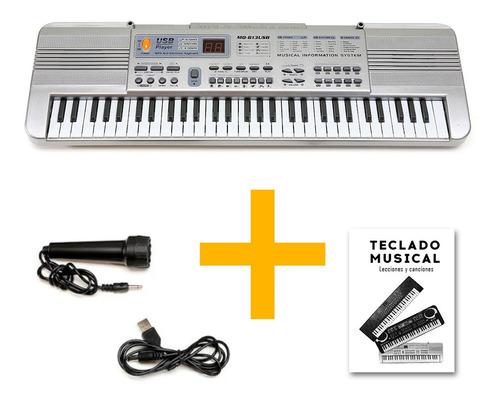 Imagen 1 de 10 de Piano Teclado Musical Infantil Microfono Mq813 Usb Full