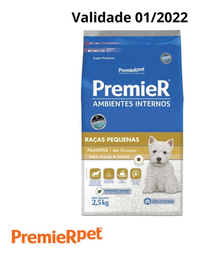 Ração Premier Cães Filhote Raça Pequena Frango/salmão 2.5kg