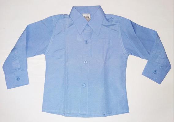 Camisa Social Menino Infantil Azul Clara Casual Manga Longa
