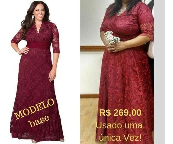 Vestido Lindo De Festa, Cor Bordô, Plus Size (50/52)