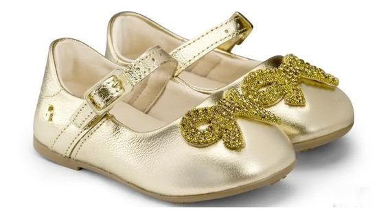 Sapatilha Bibi Menina Anjos Mini Couro Ouro Branco - 1072086