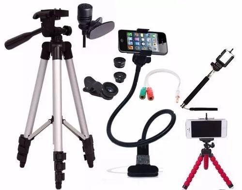 Kit Youtuber Bastão De Selfie Microfone Lapela Tripé 1,20m