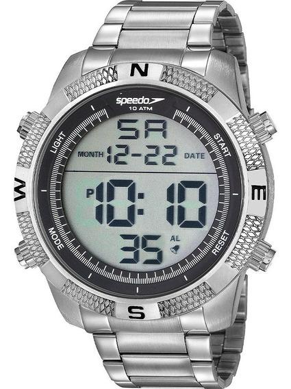 Relógio Speedo Masculino Digital Prata Garantia De 1 Ano