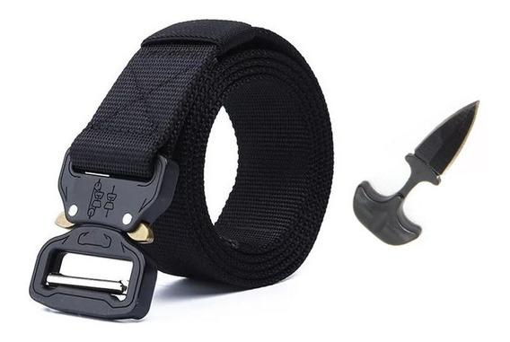 Cinturon Tactico Militar Ajustable Nylon + Cuchillo Collar