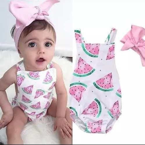 Body Verde Melancia Rosa Bebê Infantil Roupa Romper