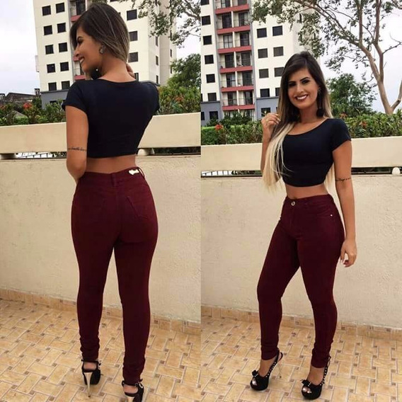 Calça Jeans Feminina Estilo Pittbull C/ Lycra Vinho Bôrdo