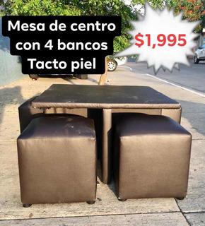 Mesa De Centro Con 4 Bancos