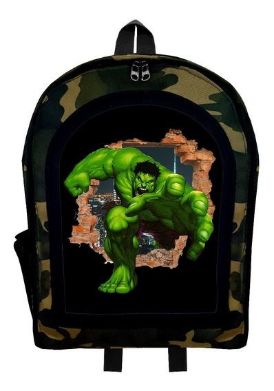 Mochila Infantil Camuflada Hulk 2 Superheroe Givan
