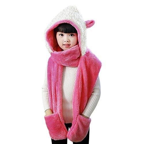 Niños Soft Plush Faux Fur Sombrero De Animal Bufanda Mitten