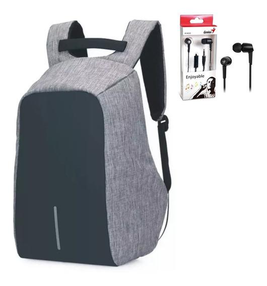 Mochila Porta Notebook Anti Robo Kolke Usb + Auricular