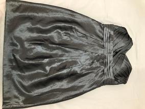 Vestido Curto Festa Tafetá Prata/chumbo Novo Pequeno Defeito