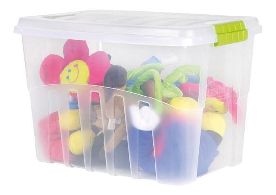 Caixa Organizadora Gran Box Alta 78l Cristal 63,5x45,3x40,1cm 1 Un Plasútil