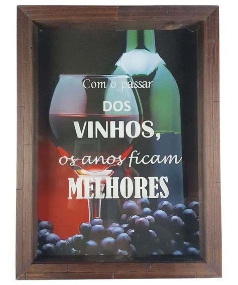 Quadro Rústico Porta Rolha De Vinho Madeira Vidro Decoração