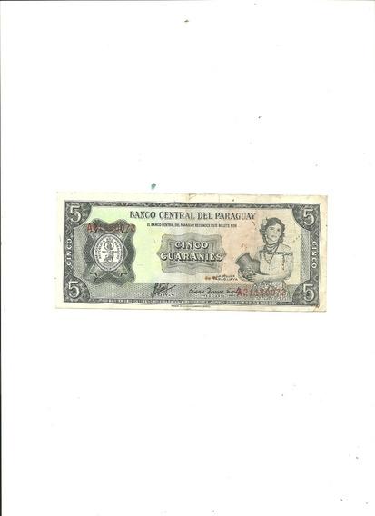 Paraguay : Billete 5 Guaraníes Año 1952/1963