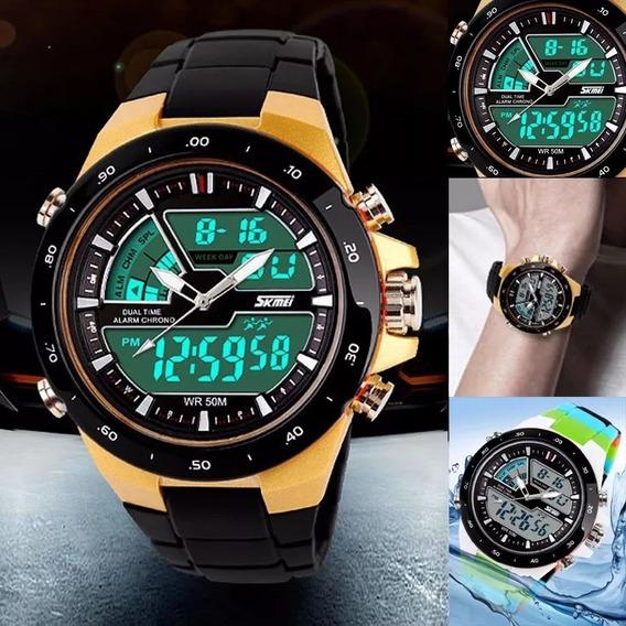Relógio Masculino Sport Digital Cromado Skmei