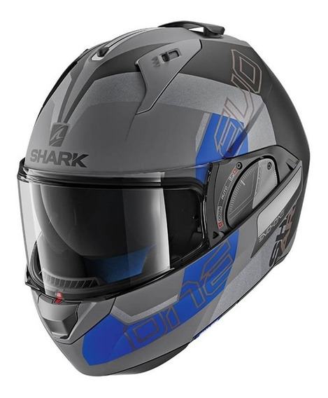 Capacete Shark Evo One V2 Slasher Cinza Fosco/prt/azul Rs1