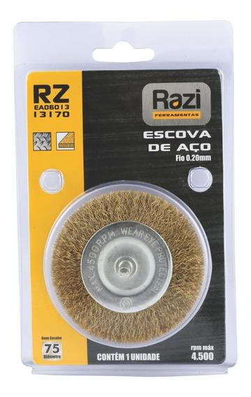 Escovas Aço P/ Furadeira 75mm Encaixe 6mm Razi - 13170