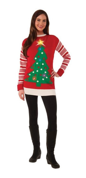 Suéter Feo Mujer Navidad Christmas Ugly Sweater Con Luz L