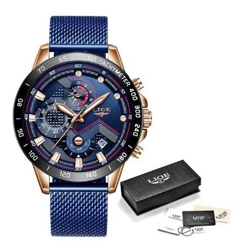Relógio Masculino De Luxo Esportivo Casual Lige Pulseira Aço
