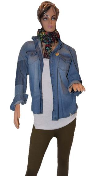 47 Street Camisa De Jean Clasica Con Pines Promo