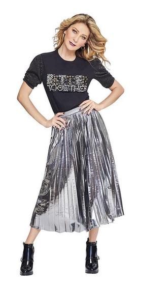 Falda Larga Plisada Dama Mujer Efecto Foil Aluminio Cklass