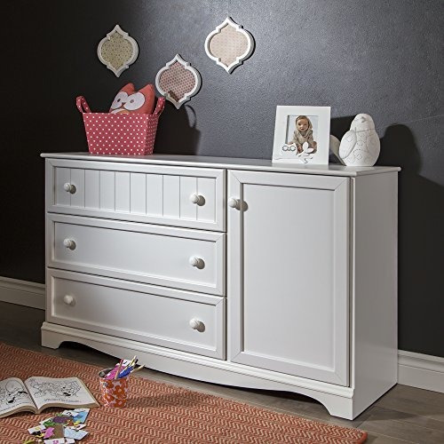 South Shore Savannah Dresser De 3 Gavetas Con Puerta, Blanco