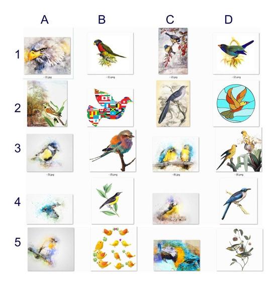 Set 10 Láminas Pájaros A Elección Para Imprimir/estampar