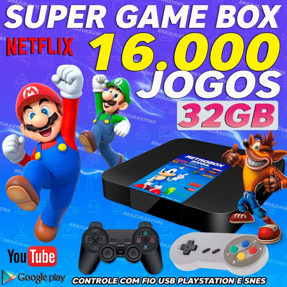 Retro Box-videogame,16.000jogos,32gb(1play, 1snes)c/extensor
