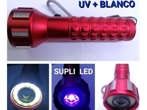 Linterna Led 1w Ultravioleta + Cob Blanco Pilas Uv Luz Negra