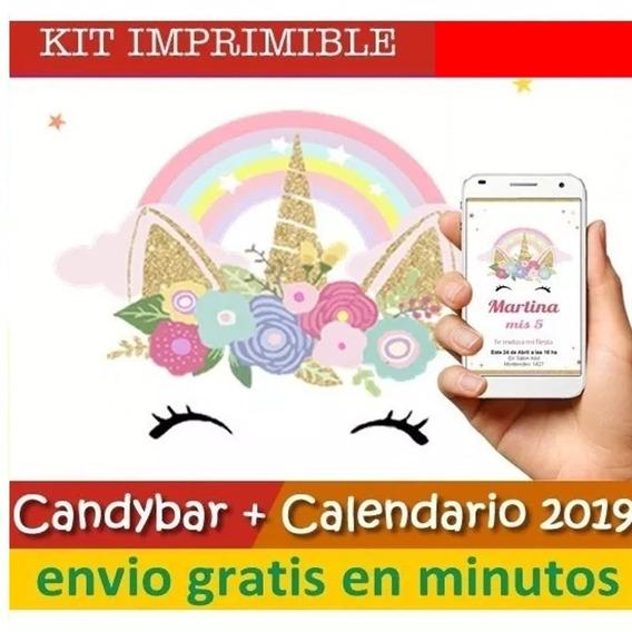 Kit Imprimible Unicornio Dorado Promo
