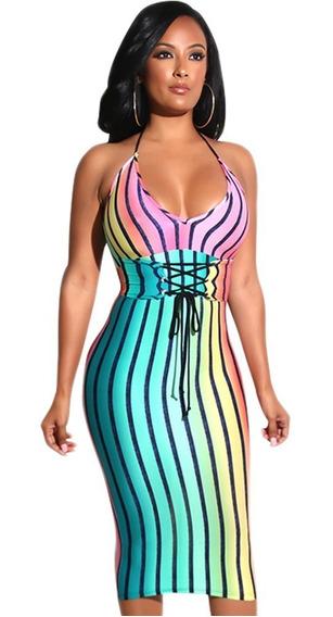 Vestido Sexy Arcoiris De Tirantes Gay Antro Fiesta 610514