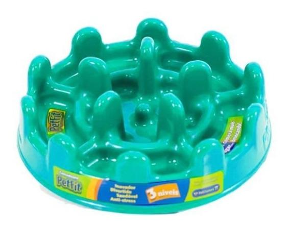 Comedouro Lento Cachorro Mini Pet Fit Pet Games Verde Agua