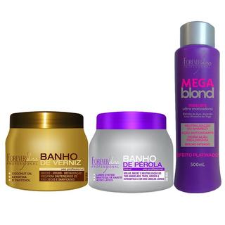 Kit Banho Verniz, Banho Pérola E Mega Blond - Forever Liss